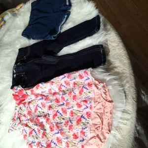 Nannette onesie dress, Cat & Jack shorts/jeans